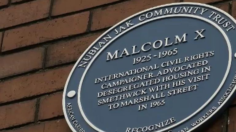 A plaque marks Malcolm X's visit to Marshall Street