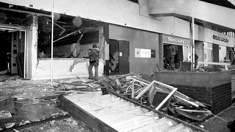 The aftermath of the fatal bomb attack on the Mulberry Bush pub