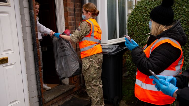 RAF personnel are helping in the 'Drop and Collect' system in Selly Oak. File pic