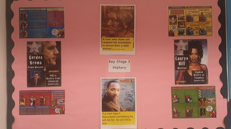 A Key Stage 3 history display board shows how Mr Garry's school has changed what it teaches students