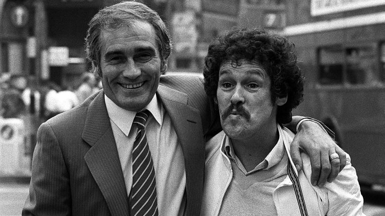 Cannon (left) and Ball preparing for their first film Boys In Blue, outside the Dominion Theatre in 1982