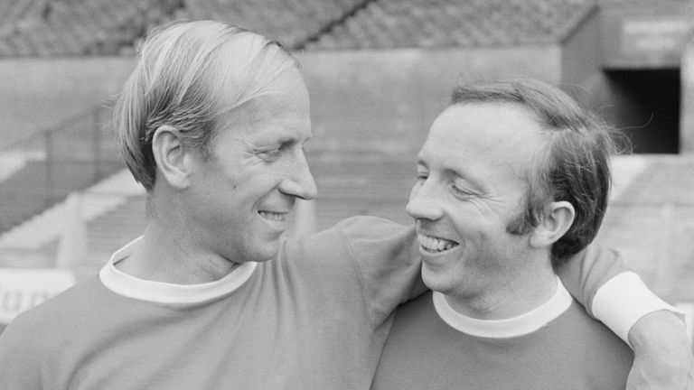 Nobby Stiles and Bobby Charlton pictured in August 1968