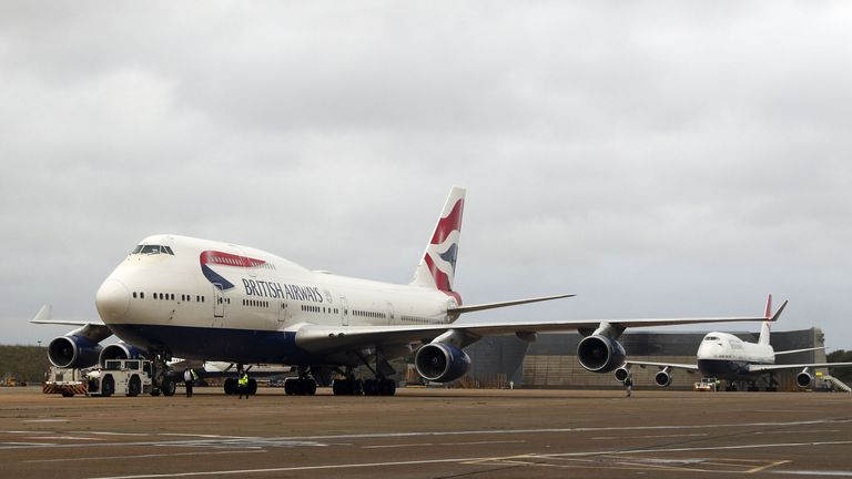 The last two British Airways Boeing 747-400 aircraft, designated G-CIVY (front) and G-CIVB prepare for the final flight from Heathrow Airport, London, after the retirement of the airline's 747 fleet was brought forward as a result of the impact the Covid-19 pandemic had on the airline and the aviation sector.