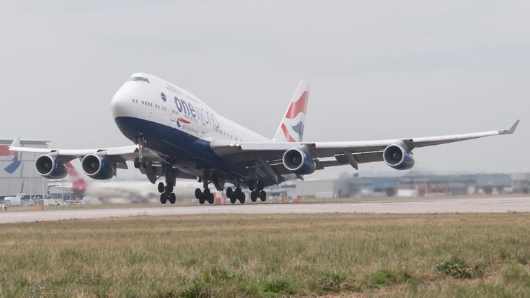 A British Airways Boeing 747 departs from one of the main runways at Heathrow Airport on March 25, 2018 in London, England
