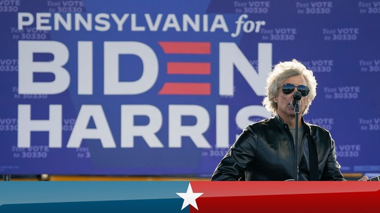 Jon Bon Jovi performs during a a drive-in campaign rally for Democratic presidential nominee Joe Biden at Dallas High School on October 24, 2020 in Dallas, Pennsylvania