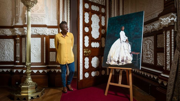 """Issued by English Heritage of artist Hannah Uzor with her painting of Sarah Forbes Bonetta, Queen Victoria's African goddaughter, at Osborne, the Queen's seaside home on the Isle of Wight. The organisation is displaying the portrait as part of a plan to feature works of """"overlooked"""" black figures connected with its sites."""