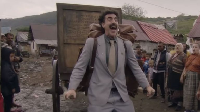 Donald Trump is not a fan of British comic Sacha Baron Cohen. Pic: Borat 2/Amazon Prime Video