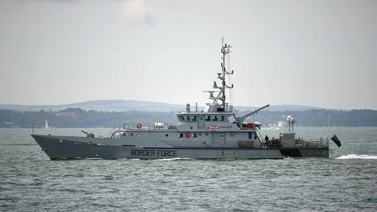 "Previously unreleased photo dated 21/07/16 of HMC Vigilant, a UK Border Agency cutter on the water near to Southsea, Hampshire, as a Commons committee warned that Britain's Border Force has a ""worryingly low"" number of boats for patrolling the coast - despite being given a key role in heightened security arrangements. PRESS"