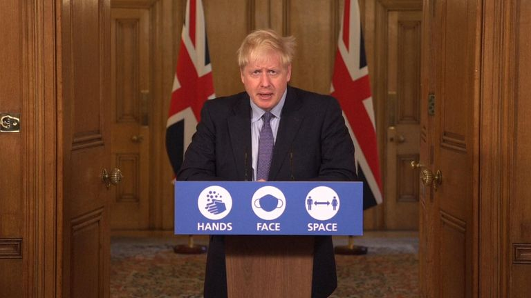 Prime Minister Boris Johnson speaks during a government coronavirus press briefing at Downing Street.