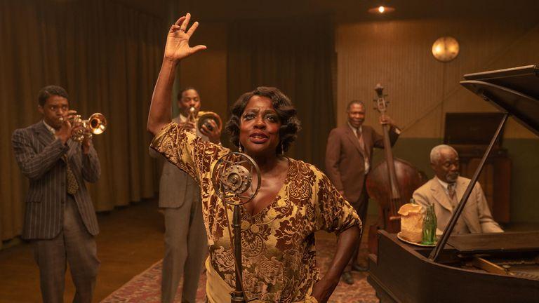 Boseman (L) stars with Viola Davis, who plays the lead character. Pic: David Lee/ Netflix