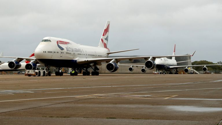 The last two British Airways Boeing 747-400 aircraft prepare for the final flight from Heathrow