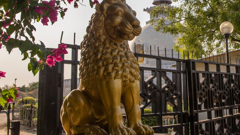 The golden Lion statue is seen in the deserted Vishwa Shanti Stupa, a Buddhist white-domed stupa (chorten) also known as the World Peace Pagoda during Vesak, as India remains under an unprecedented extended lockdown over the highly contagious coronavirus (COVID-19) on May 7, 2020 in New Delhi, India.