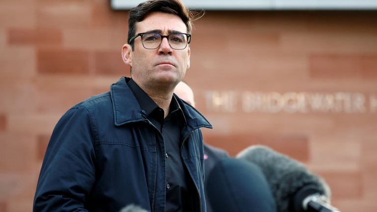 Andy Burnham, mayor of Manchester, holds a news conference, amid the outbreak of the coronavirus disease