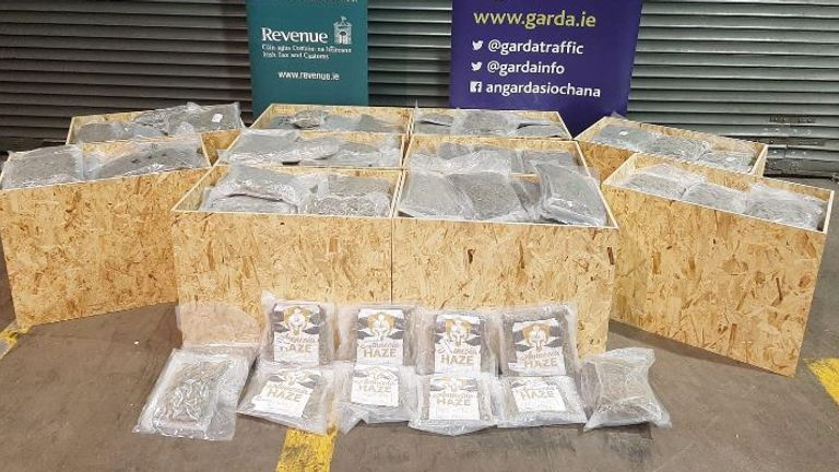 Herbal cannabis in excess of €7 million has been seized in a joint operation between Gardaí attached to the GNDOCB and Revenue Customs Officers. Pic: Garda