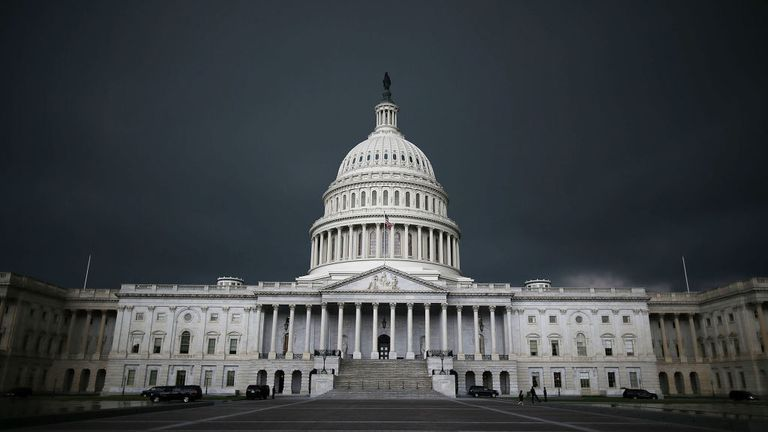 WASHINGTON, DC - JUNE 13: Storm cloads fill the sky over the U.S. Capitol Building, June 13, 2013 in Washington, DC. Potentially damaging storms are forecasted to hit parts of the east coast with potential for causing power wide spread outages. (Photo by Mark Wilson/Getty Images)