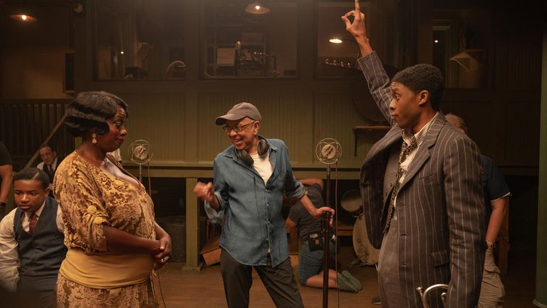 Viola Davis and Chadwick Boseman in the upcoming Netflix movie Ma Rainey's Black Bottom. Pic: David Lee/ Netflix