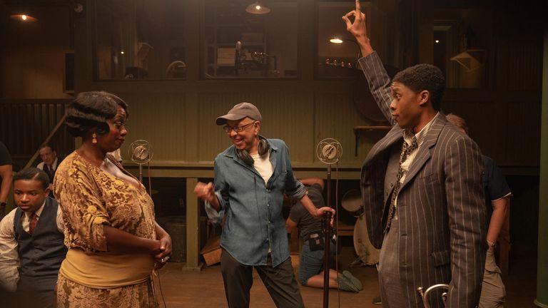 Viola Davis and Chadwick Boseman in the upcoming Netflix movie Ma Rainey's Black Bottom. Pic: David Lee/ Netflix