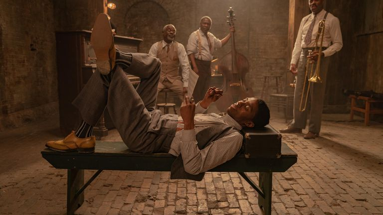 Boseman plays a trumpet player in the 1920s-set film. Pic: David Lee/ Netflix