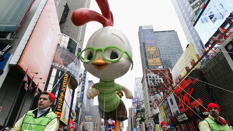 NEW YORK - NOVEMBER 24: Chicken Little floats down Broadway during the annual Macy's Thanksgiving Day Parade in New York on November 24, 2005