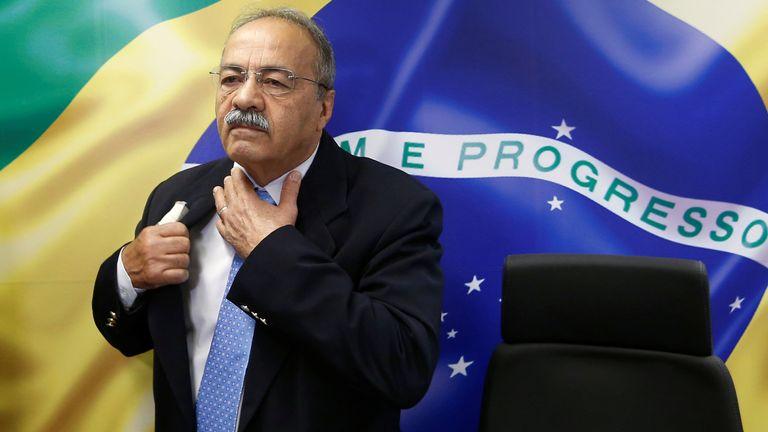 Brazil's Senator Chico Rodrigues reacts during a meeting with Brazilian Federal Deputy Eduardo Bolsonaro at the Federal Senate in Brasilia