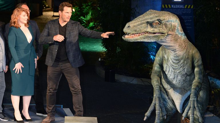 Stars Chris Pratt and Bryce Dallas Howard.at the opening of Jurassic World - The Ride at Universal Studios in Hollywood in 2019