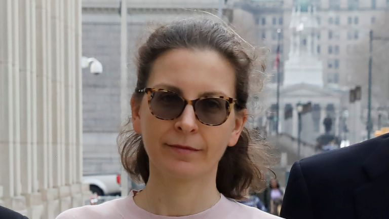 Clare Bronfman arrives at US District court in Brooklyn on Wednesday to be sentenced