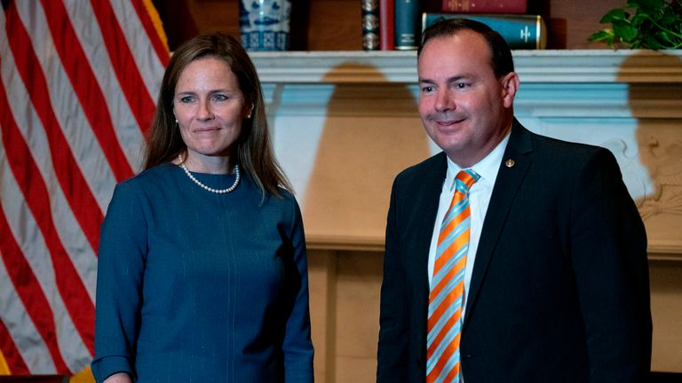 Supreme Court nominee Judge Amy Coney Barrett (L) meets with US Senator Mike Lee (R-UT) at the US Capitol in Washington, DC on September 29, 2020