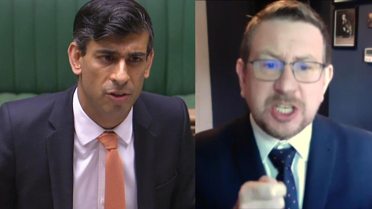 Labour MP Andrew Gwynne was furious when questioning the chancellor, Rishi Sunak, who criticised the man's tone.