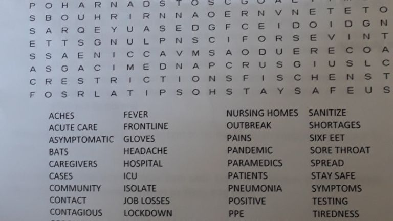 Coronavirus word search sent by Accent Housing