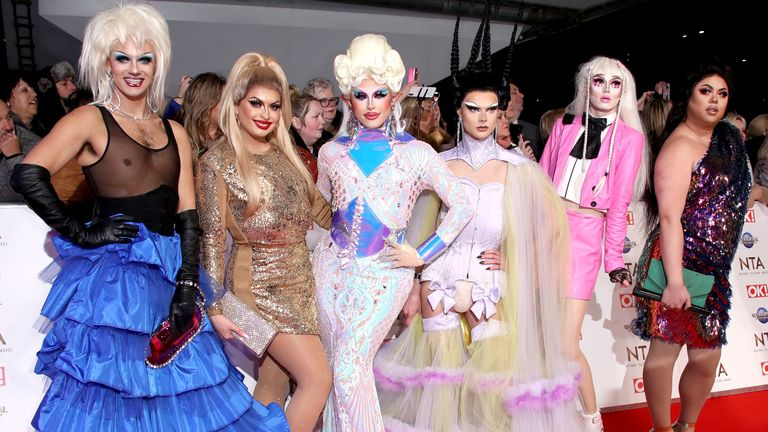 Sum Ting Wong, Scaredy Kat, Blu Hydrangea, Cheryl Hole, Crystal and Gothy Kendoll of RuPaul's Drag Race attend the National Television Awards 2020 at The O2 Arena on January 28, 2020 in London