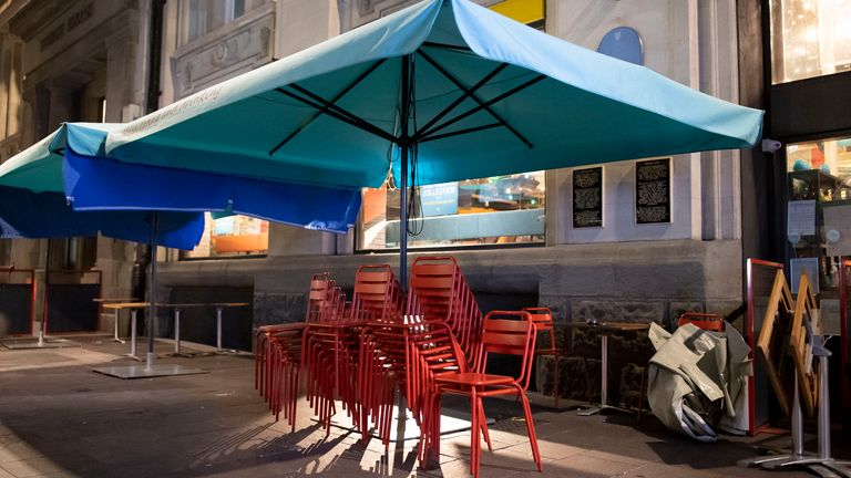Furniture outside a restaurant St. Mary Street on September 24, 2020 in Cardiff, Wales.