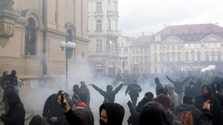 Protests were held in Prague at the weekend over restrictions in the Czech Republic