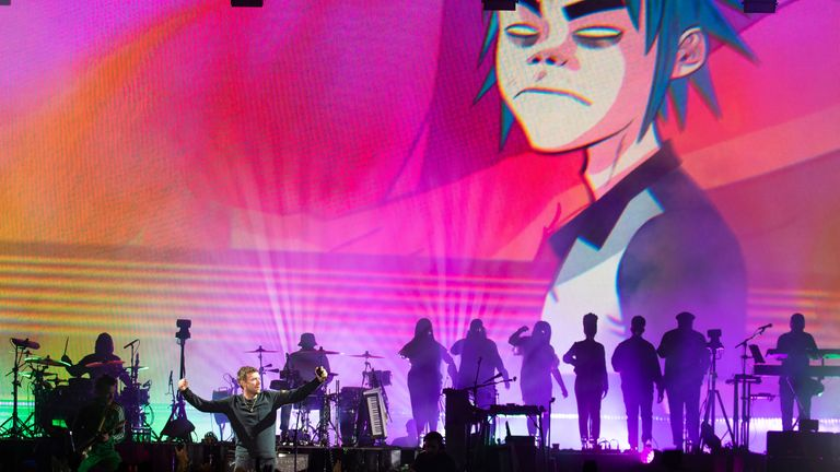 Damon Albarn leads Gorillaz at Demon Dayz Festival in California in 2018