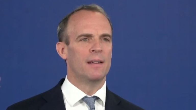 Dominic Raab speaks to the virtual Conservative conference
