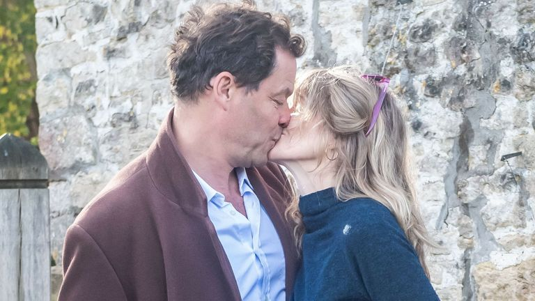 Dominic West and wife Catherine Fitzgerald make a statement to press outside their Cotswolds home after Dominic was seen kissing actress Lily James whilst in Rome on October 13, 2020 in Cotswolds, England. (Photo by GlosPics/MEGA/GC Images)