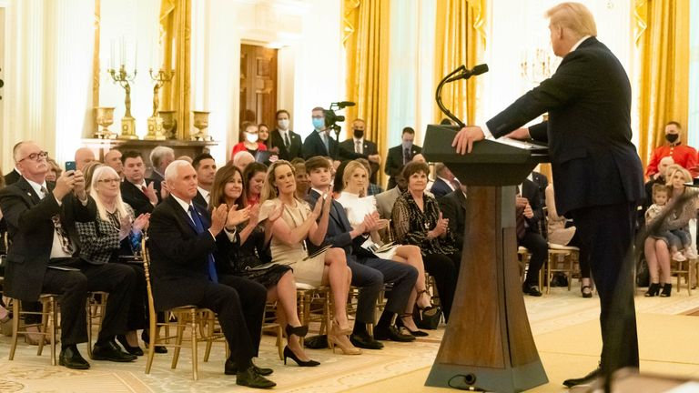 Trump honors gold star families during a reception in the East Room of the White House. Pic: White House/ZUMA Wire/Shutterstock