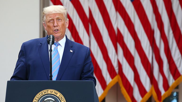 The president gives an update on the US COVID-19 testing strategy from the Rose Garden on Monday