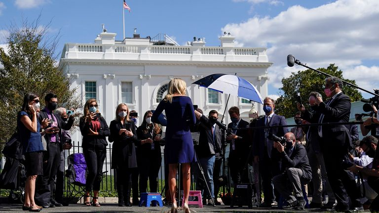 White House Press Secretary Kayleigh McEnany speaking to the media after Donald Trump announced he and his wife Melania had both tested positive for COVID-19