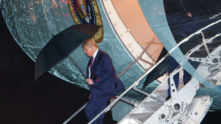 US President Donald Trump steps off Air Force One upon arrival at Andrews Air Force Base in Maryland on September 30, 2020. - Donald Trump returned to Washington after taking part in the first presidential debate. (Photo by MANDEL NGAN / AFP) (Photo by MANDEL NGAN/AFP via Getty Images)