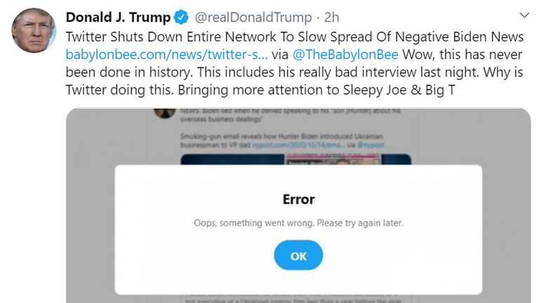 Donald Trump has shared a Tweet to an article from the satirical website Babylon Bee which claims Twitter was shut down to slow the spread of negative articles about Joe Biden