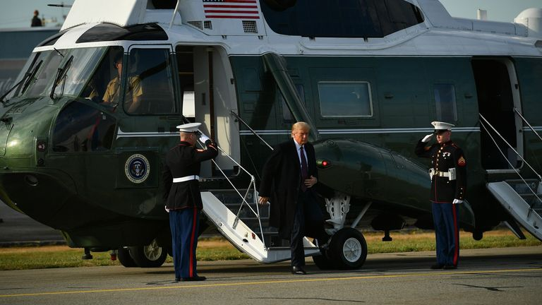 US President Donald Trump steps off Marine One on his way to board Air Force One before departing from Andrews Air Force Base in Maryland on October 1, 2020. - The president is heading to Bedminster, New Jersey for a fundraiser. (Photo by MANDEL NGAN / AFP) (Photo by MANDEL NGAN/AFP via Getty Images)