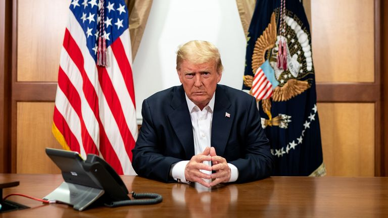 President Donald Trump in his conference room at the Walter Reed National Military Medical Center. Pic: White House