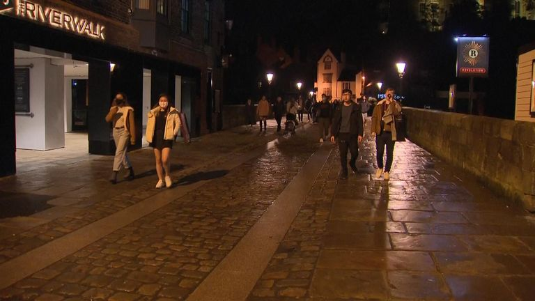 Durham is quiet at night as people head home after 10pm