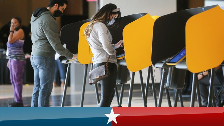 Voters cast their ballots at a vote centre located at the Staples Center on the first weekend of early in-person voting on October 25, 2020 in Los Angeles, California.