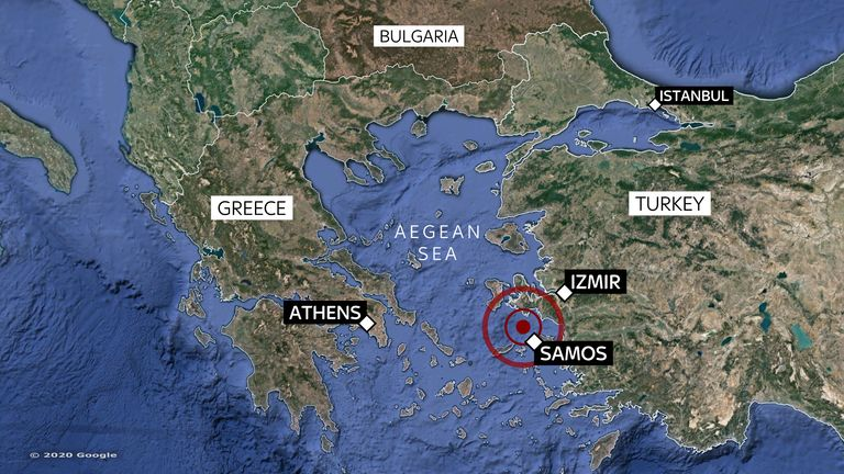 Map of where magnitude 7 earthquake hit between Turkey and Greek Islands on 30/10/2020
