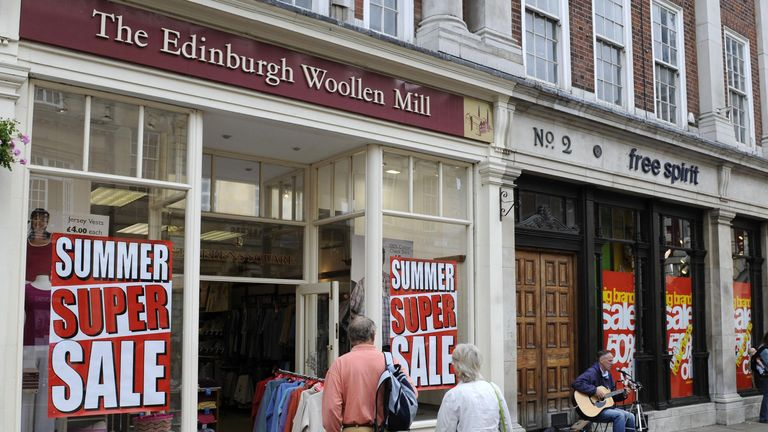 Embargoed to 0001 Tuesday July 15. Shops in York advertise their summer sales.
