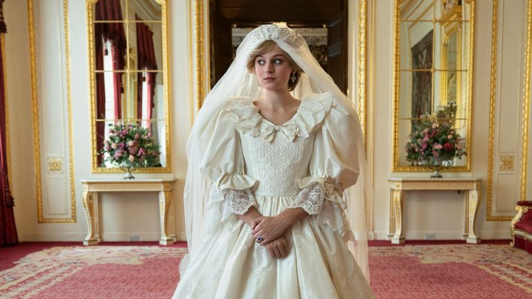 ONLY FOR USE FOR THE CROWN JUNKET FEATURE - GEMMA PEPLOW... Emma Corrin as Princess Diana in The Crown. Pic: Netflix/ Des Willie