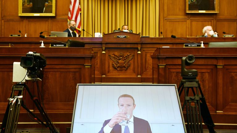 WASHINGTON, DC - JULY 29: Facebook CEO Mark Zuckerberg testifies before the House Judiciary Subcommittee on Antitrust, Commercial and Administrative Law on Online Platforms and Market Power in the Rayburn House office Building, July 29, 2020 on Capitol Hill in Washington, DC. (Photo by Mandel Ngan-Pool/Getty Images)