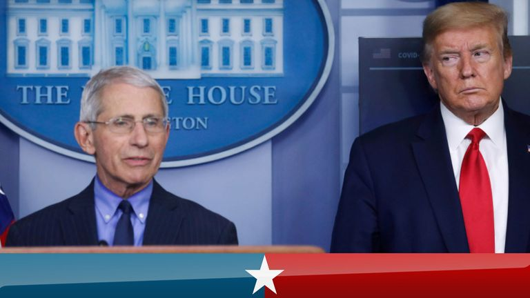 Donald Trump and Dr Anthony Fauci at a coronavirus White House briefing in April