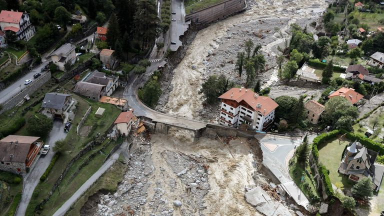 This aerial view taken on October 3, 2020 shows the damage in , southeastern France, after heavy rains and floodings hit the Alpes-Maritimes department
